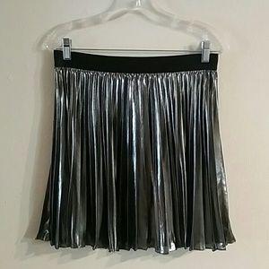 Express Metallic Pleated Skirt